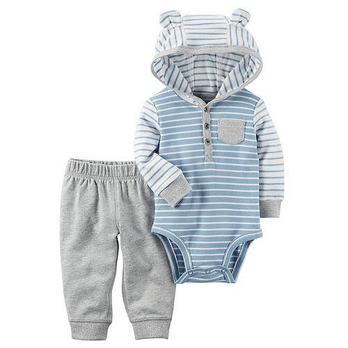 Baby Boy Carter's 3D Ear Hooded Striped Bodysuit & Pants Set