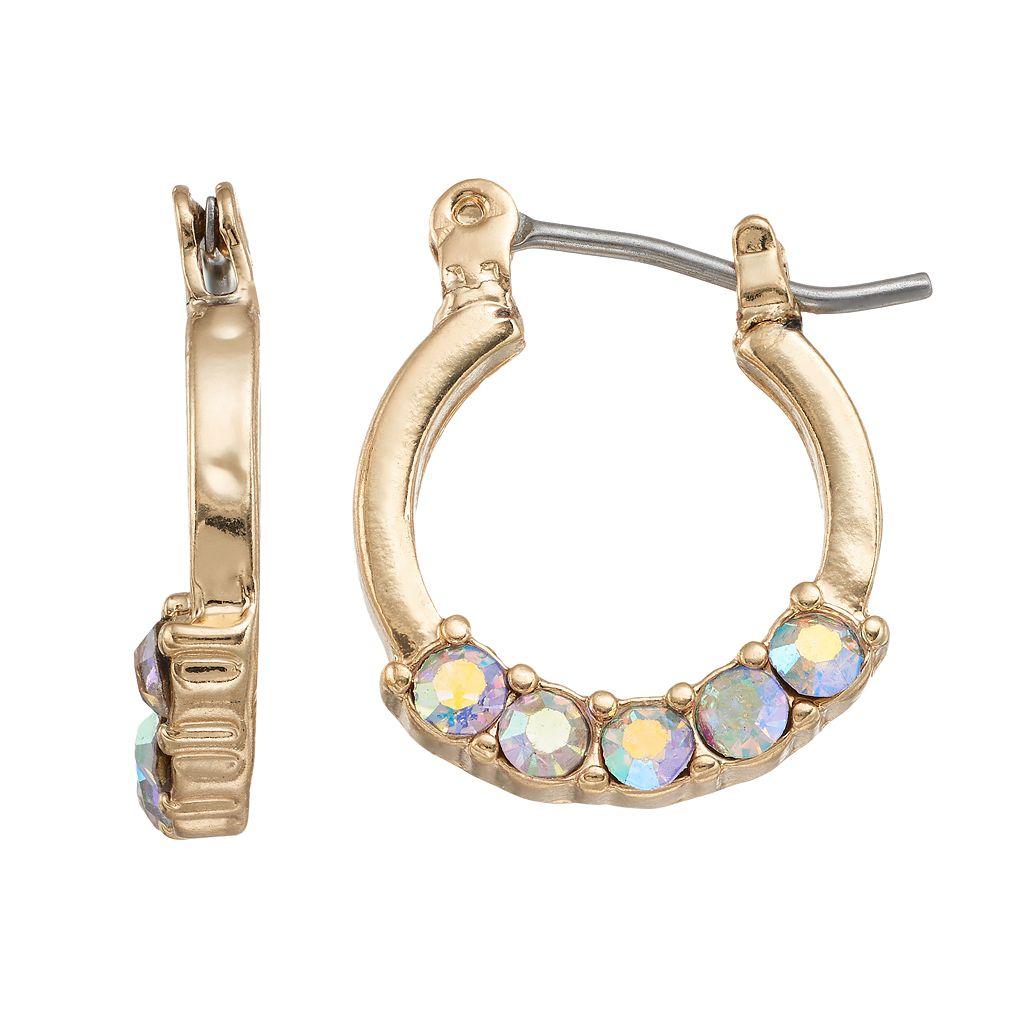 LC Lauren Conrad Faceted Stone Nickel Free Hoop Earrings