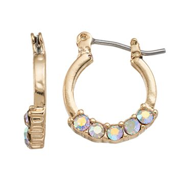 LC Lauren Conrad Faceted Stone Nickel Free Hoop Earrings