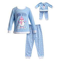 Girls 4-14 Dollie & Me Snowman Top & Snowflake Bottoms Pajama Set