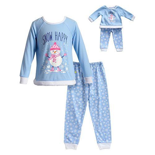 2688810b1b75 Girls 4-14 Dollie & Me Snowman Top & Snowflake Bottoms Pajama Set