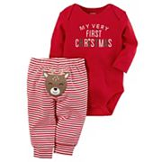 Baby Carter's 'My Very First Christmas' Bodysuit & Striped Reindeer Applique Bottoms