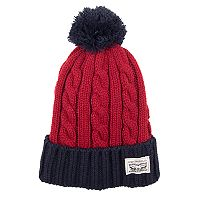 Men's Levi's® Colorblock Cable-Knit Cuffed Pom Beanie