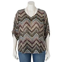 Juniors' Plus Size HeartSoul Chevron High-Low Necklace Top