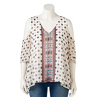 Juniors' Plus Size HeartSoul Print Cold-Shoulder Top