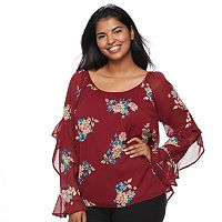 Juniors' Plus Size HeartSoul Floral Ruffle Sleeve Top