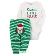 Baby Carter's 'Santa's Little Helper' Bodysuit & Striped Dog Applique Bottoms