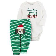 Baby Carter's 'Santa's Little Helper' Bodysuit & Striped Dog Applique Bottoms