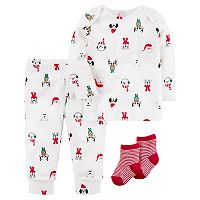 Baby Carter's Christmas Characters Top, Bottoms & Socks Set