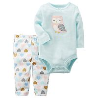 Baby Girl Carter's Owl Bodysuit & Heart Leggings Set