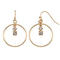 LC Lauren Conrad Nickel Free Orbital Stone Drop Hoop Earrings