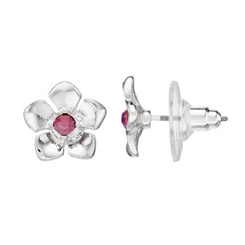 LC Lauren Conrad Nickel Free Pink Stone Flower Stud Earrings
