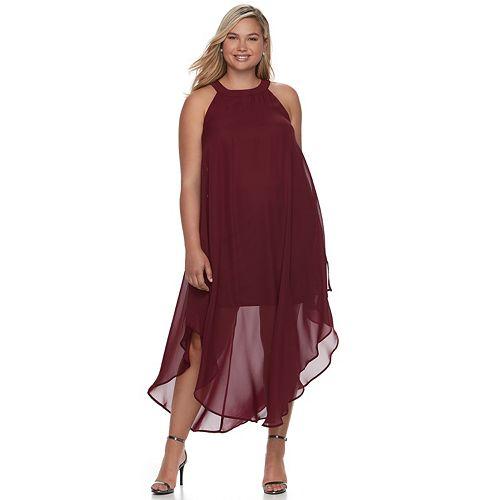 Juniors\' Plus Size Wrapper Halter Maxi Dress
