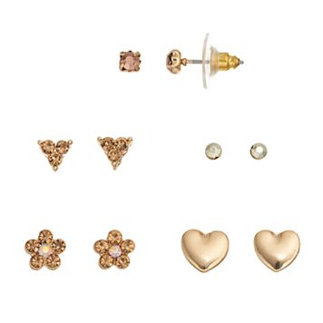 LC Lauren Conrad Heart & Flower Nickel Free Stud Earring Set