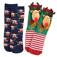 Girls 4-16 Pink Cookie 2-pk. Christmas Plush Face & Patterned Crew Socks