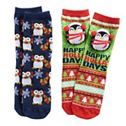 Girls 4-16 Pink Cookie 2 pkChristmas Plush Face & Patterned Crew Socks