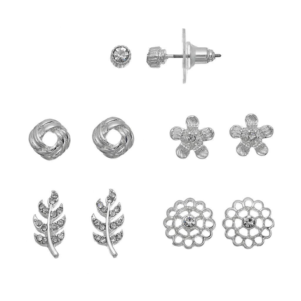 LC Lauren Conrad Flower, Leaf & Love Knot Nickel Free Stud Earring Set