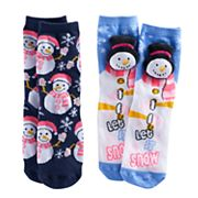 Girls 4-16 Pink Cookie 2 pkHoliday Plush Face & Patterned Crew Socks