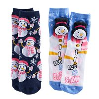 Girls 4-16 Pink Cookie 2-pk. Holiday Plush Face & Patterned Crew Socks