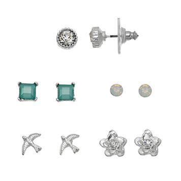 LC Lauren Conrad Bird & Flower Nickel Free Stud Earring Set