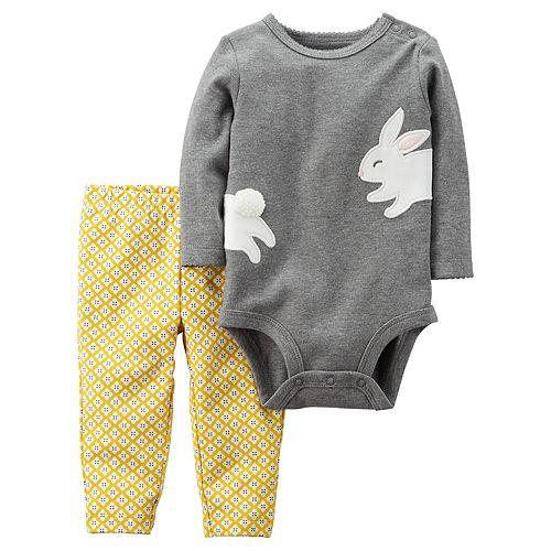 d1aa7b9aee67 Baby Girl Carter s Bunny Rabbit Bodysuit   Geometric Print Leggings Set