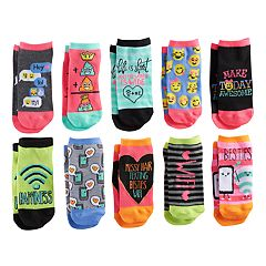 Girls 4-16 Pink Cookie 10-pk. Characters & Patterns Low Cut Socks