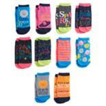 Girls 4-16 Pink Cookie 10 pkCharacters & Patterns Low Cut Socks