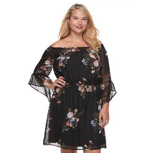 Juniors\' Plus Size Wrapper Floral Off Shoulder Peasant Dress