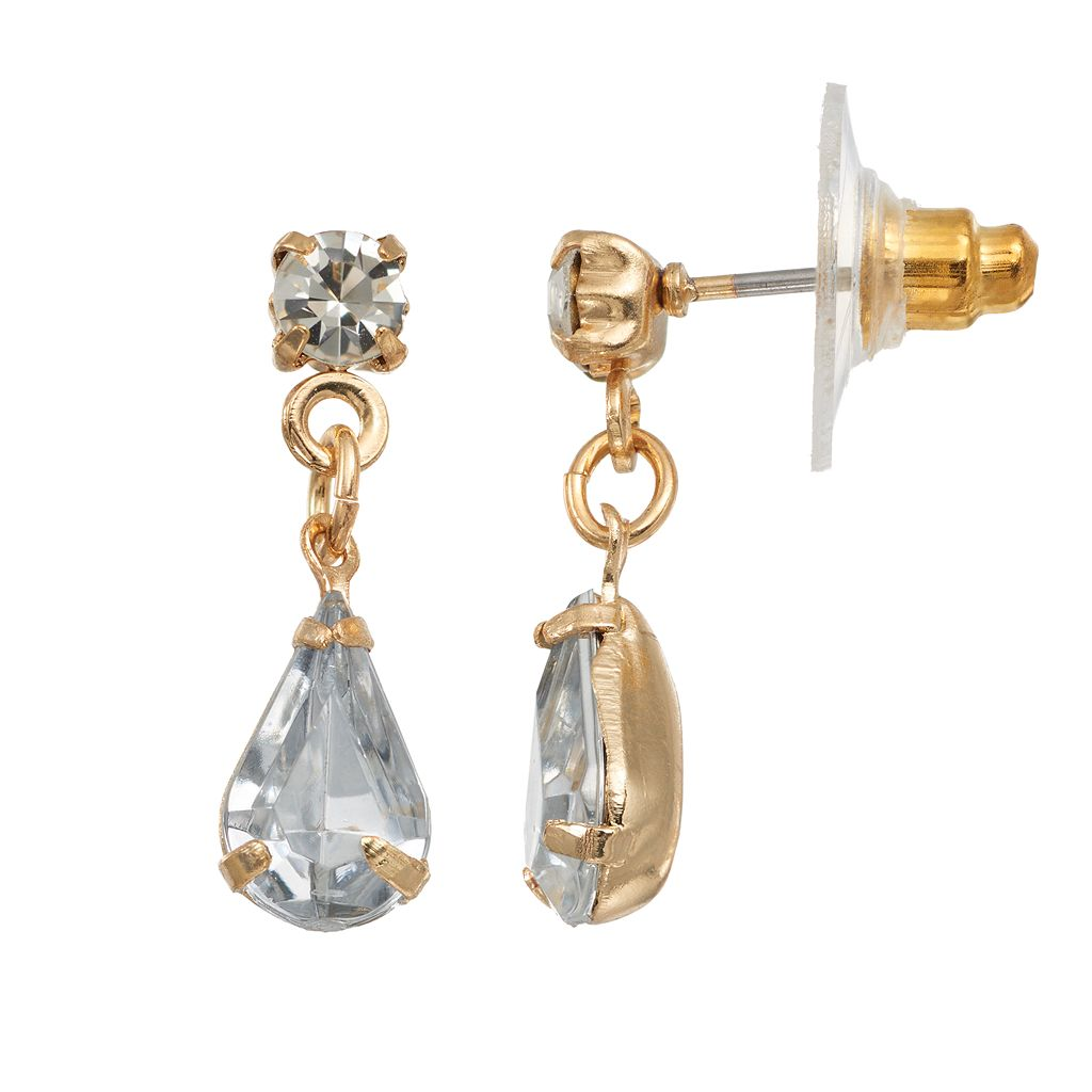 LC Lauren Conrad Simulated Crystal Teardrop Nickel Free Earrings