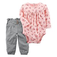 Baby Girl Carter's Floral Bodysuit & Ruffled Pants Set