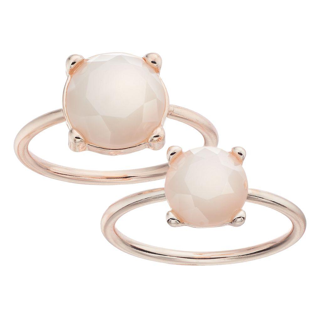 LC Lauren Conrad White Round Stone Ring Set