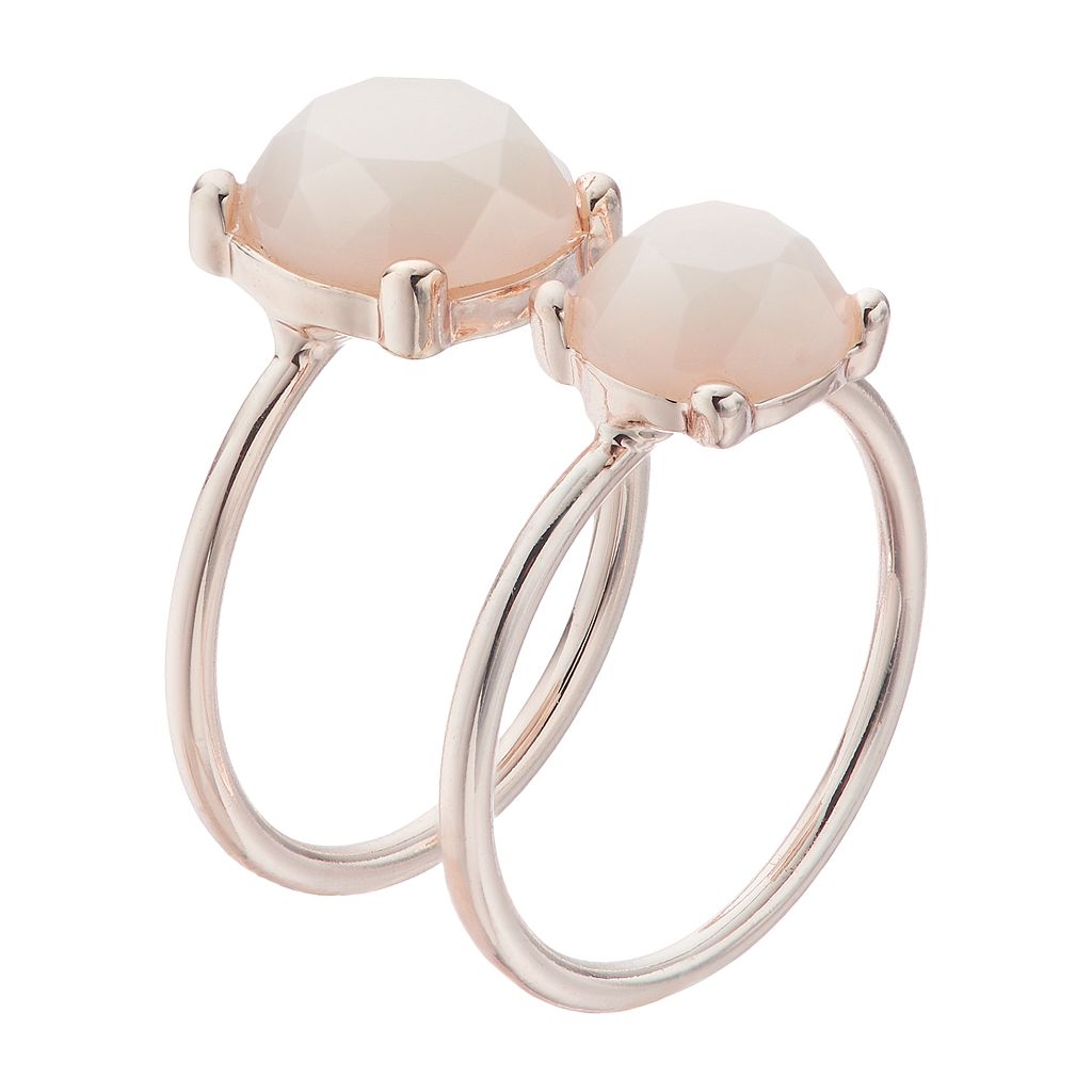 LC Lauren Conrad White Round Stone Ring Set