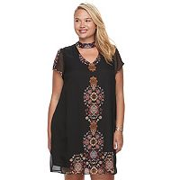Juniors' Plus Size Wrapper Medallion Choker Neck Shift Dress