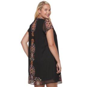 Juniors' Plus Size Wrapper Medallion Choker Neck Shift Dress