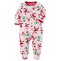 Baby Girl Carter's Santa & Snowmen Fleece Footed Pajamas