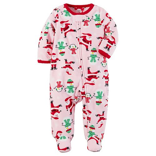 Baby Girl Carter s Santa   Snowmen Fleece Footed Pajamas 25bae788b
