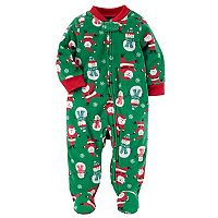 Baby Boy Carter's Santa & Snowmen Fleece Footed Pajamas