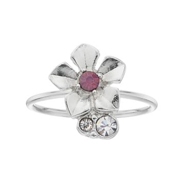 LC Lauren Conrad Pink Stone Flower Ring