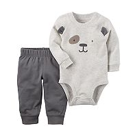 Baby Boy Carter's 3D Ear Embroidered Bear Bodysuit & Pants Set