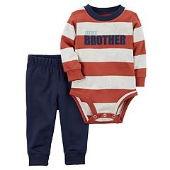 Baby Boy Carter's 'Little Brother' Striped Bodysuit & Pants Set