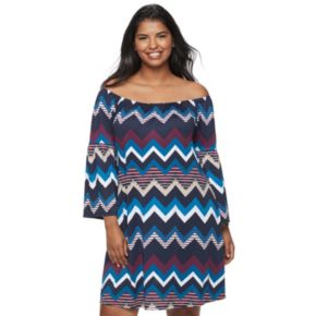 Juniors' Plus Size Wrapper Chevron Off-The-Shoulder Dress