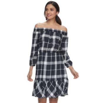 Women's Indication Linen Blend Plaid Off-the-Shoulder Dress