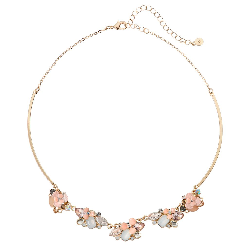 LC Lauren Conrad Pink Flower Stone Cluster Collar Necklace