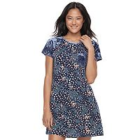 Juniors' Wallflower Print Velour Pocket T-Shirt Dress
