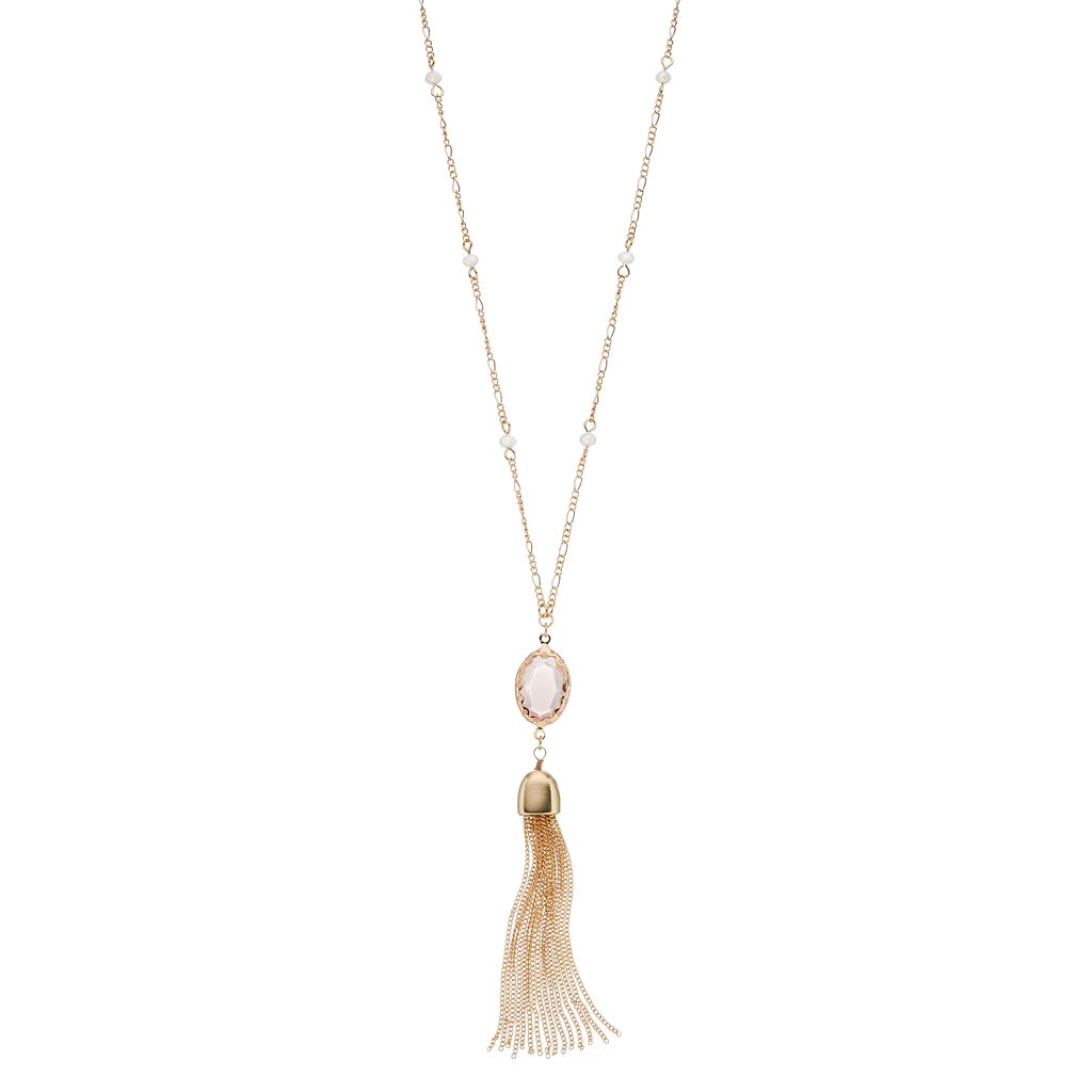 LC Lauren Conrad Long Pink Oval Stone Tassel Necklace