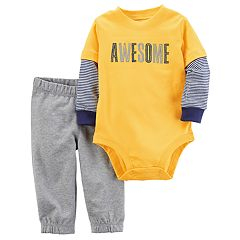 Baby Boy Carter's 'Awesome' Mock Layer Bodysuit & French Terry Pants Set