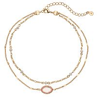 LC Lauren Conrad Pink Stone Double Strand Choker Necklace