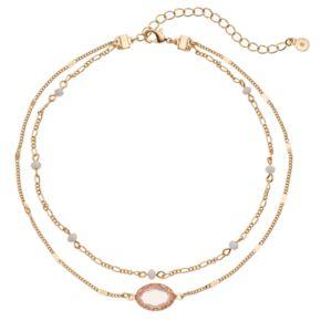 LC Lauren Conrad Pink Stone Double Strand Choker Necklace