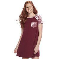 Juniors' Wallflower Velour Pocket T-Shirt Dress