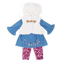 Baby Girl Little Lass Plush Vest, Chambray Top & Floral Leggings Set